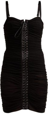 Ruched Tulle Lace-up Corset Dress - Womens - Black