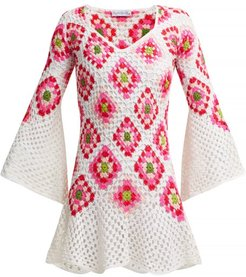 Bisou V-neck Crocheted-knit Cotton Midi Dress - Womens - White Multi