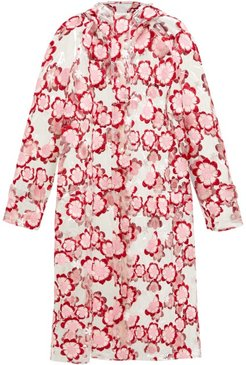 Floral-embroidered Pvc Raincoat - Womens - Pink