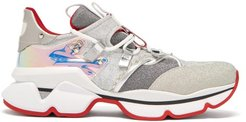 Red Runner Lamé Trainers - Womens - Silver Multi