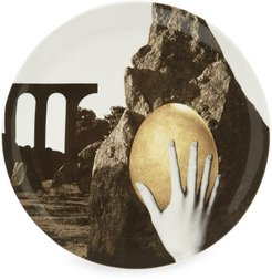 Hand And Egg-print Large Ceramic Plate - Grey Gold