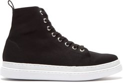 Almond-toe Canvas High-top Trainers - Womens - Black