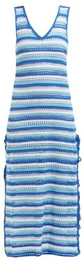 Striped Crochet-knit Cotton Midi Dress - Womens - Blue Stripe