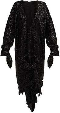 Tie-front Sequined Dress - Womens - Black