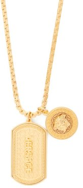 Medusa And Dog Tag Charm Necklace - Mens - Gold