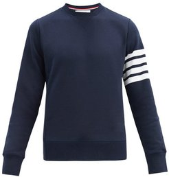Four-bar Intarsia-stripe Cotton Sweatshirt - Mens - Navy