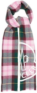 Logo-print Checked Wool-blend Scarf - Womens - Pink