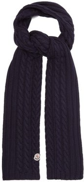 Cable-knitted Wool Scarf - Womens - Navy