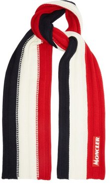 Tricolour Ribbed-knit Wool Scarf - Mens - Red