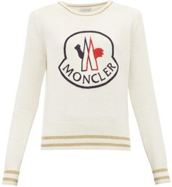 Logo-embroidered Wool-blend Sweater - Womens - White Multi