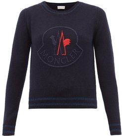 Logo-embroidered Wool-blend Sweater - Womens - Navy Multi