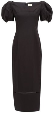 Allison Puff-sleeve Cotton Midi Dress - Womens - Black