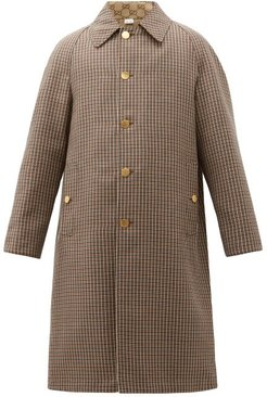 Reversible Gg And Houndstooth-wool Coat - Mens - Brown