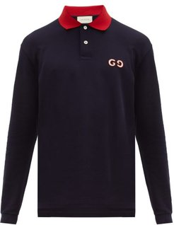 GG-embroidered Cotton-blend Polo Shirt - Mens - Navy