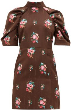 Open-back Floral-jacquard Dress - Womens - Brown Multi