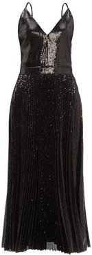 Pleated Sequinned Dress - Womens - Black
