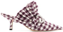 Crystal-moon Checked Cotton Mules - Womens - Burgundy White