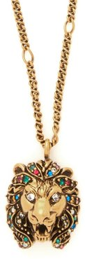 Lion-head Crystal-embellished Pendant Necklace - Womens - Gold