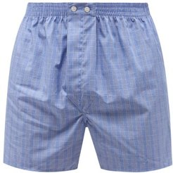 Classic Fit Checked-cotton Boxer Shorts - Mens - Blue Multi