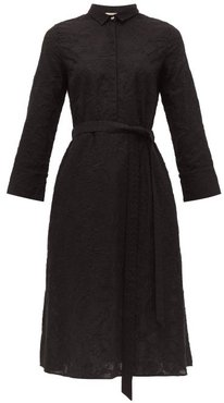 Lucy Embroidered Cotton Shirtdress - Womens - Black