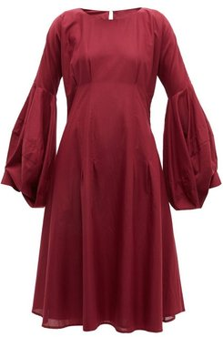 Darted Cotton Dress - Womens - Burgundy