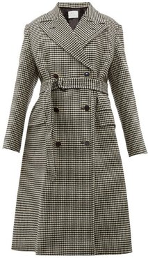 Double-breasted Houndstooth Wool Coat - Womens - Black Multi