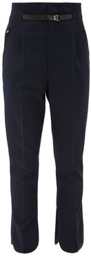 High-rise Belted Trousers - Womens - Navy