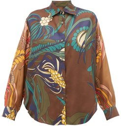 Varenne Floral-print Silk-twill Shirt - Womens - Brown Multi