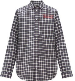 Logo-embroidered Checked Bonded-cotton Shirt - Mens - Grey Multi