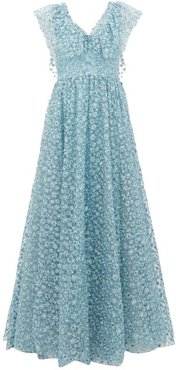 Floral-embroidered Tulle Gown - Womens - Light Blue