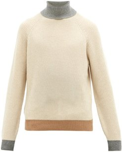 Contrast-edge Roll-neck Cashmere Sweater - Mens - Beige