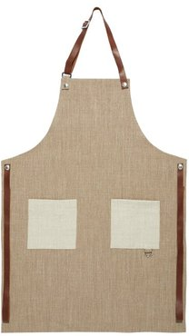 Leather-trimmed Canvas Apron - Beige