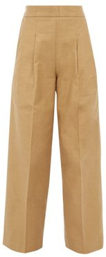 Pleated High-rise Cotton-twill Wide-leg Trousers - Womens - Camel