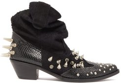 Spiked Suede And Snake-effect Leather Boots - Womens - Black