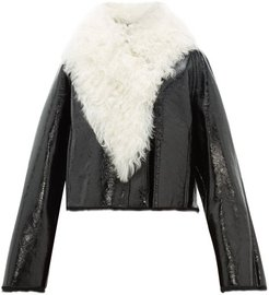 Shearling-trimmed Cropped Leather Jacket - Womens - Black White