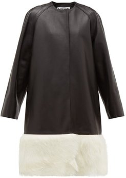 Shearling-trimmed Collarless Leather Coat - Womens - Black White