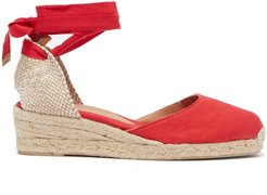 Carina 30 Canvas And Jute Espadrille Wedges - Womens - Red