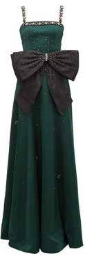 Ravenna Crystal-embellished Satin Gown - Womens - Green Multi