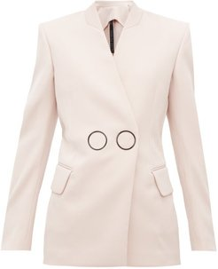 Jestine Collarless Double-breasted Wool Jacket - Womens - Light Pink