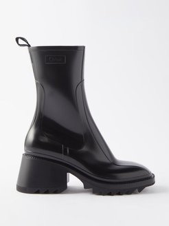 Betty Heeled Rubber Boots - Womens - Black