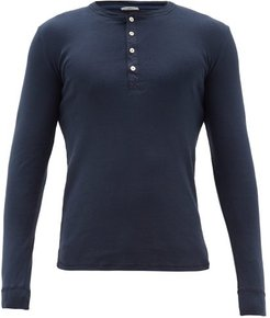 Karl Heinz Long-sleeved Cotton Henley Top - Mens - Navy
