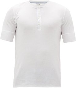 Karl Heinz Short-sleeved Cotton Henley Top - Mens - White