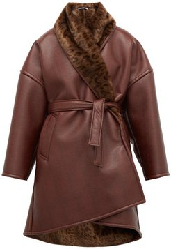 Oversized Faux-fur And Faux-leather Wrap Coat - Womens - Burgundy