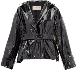 Patent-leather Belted Jacket - Womens - Black