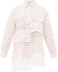 Floral-print Lace-trimmed Cotton Blouse - Womens - Red White