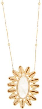 Mufasa Diamond, Moonstone & Gold Necklace - Womens - Crystal