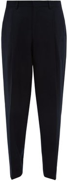 Pleated Wide-leg Wool-twill Trousers - Mens - Navy