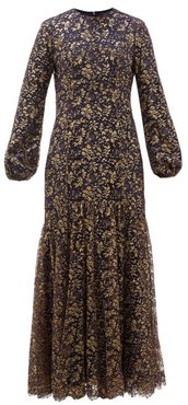 Sofia Balloon-sleeve Metallic-lace Gown - Womens - Navy Gold