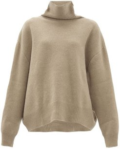 Cropped Displaced-sleeve Roll-neck Wool Sweater - Womens - Grey Beige