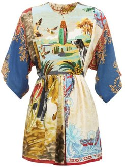 Vintage Patchwork Tapestry-panel Silk Top - Womens - Multi